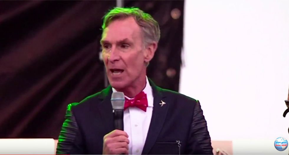 'Save the world!': Watch Bill Nye's barn burner speech in pouring rain at DC March for Science rally