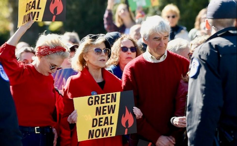 'A real movement boost': Sam Waterston and Jane Fonda among those arrested demanding Green New Deal in DC