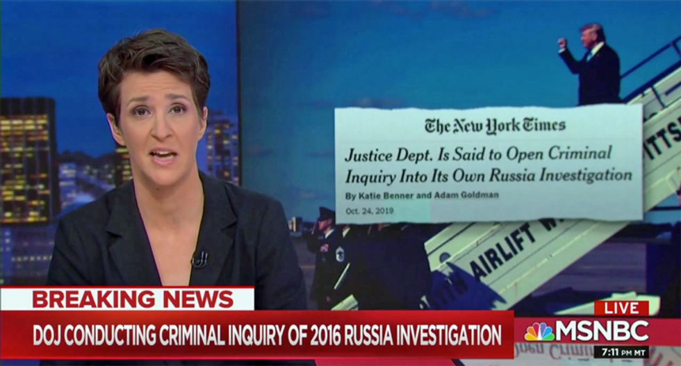 'This is stunning': Maddow shocked by AG Bill Barr's criminal investigation into 'conspiracy theory'