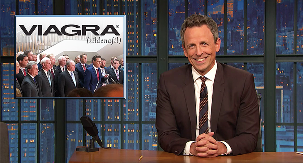 Seth Meyers says Republicans storming classified room looked like a protest at a pharmacy that ran out of Viagra