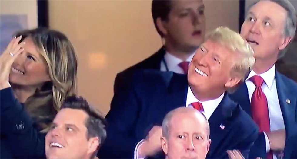 Watch Trump's face change once he realizes World Series crowd is chanting 'lock him up'