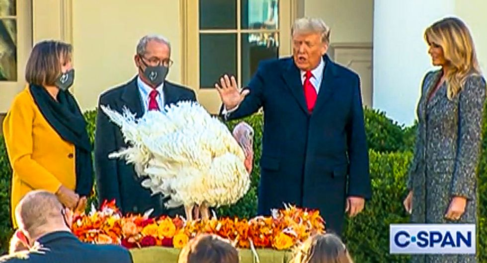 Donald Trump dodges questions at turkey pardon: 'Will you be interested in a pardon for yourself?'