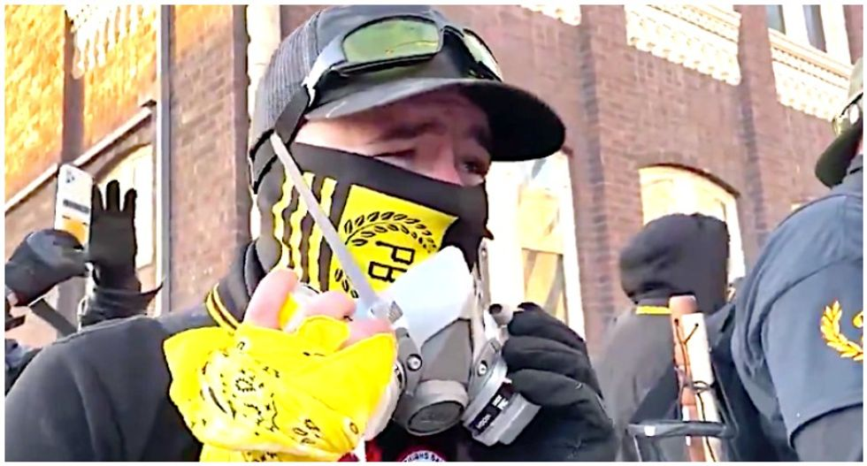Proud Boy goes viral for saying 'I'm kinda dumb' as he is confronted over 'Right Wing Death Squad' patch