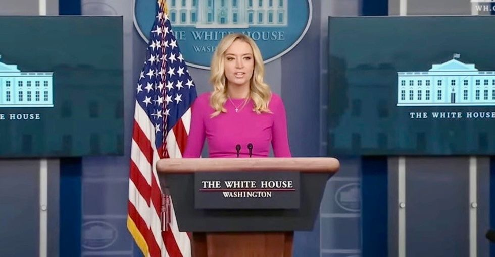 Kayleigh McEnany accuses Democrats of not following COVID rules – while her husband stands maskless in the briefing room