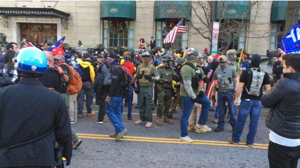 'Anybody got a bazooka?' Proud Boys wreak havoc on DC as Mike Flynn and others rally Donald Trump loyalists