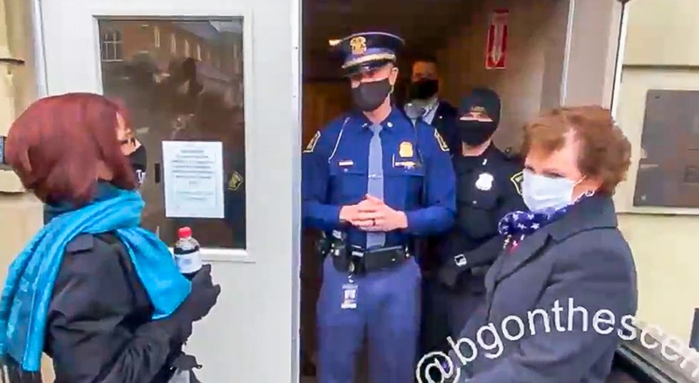 'The electors are already here': Watch Michigan State Police refuse entry to GOP's 'alternate electors'