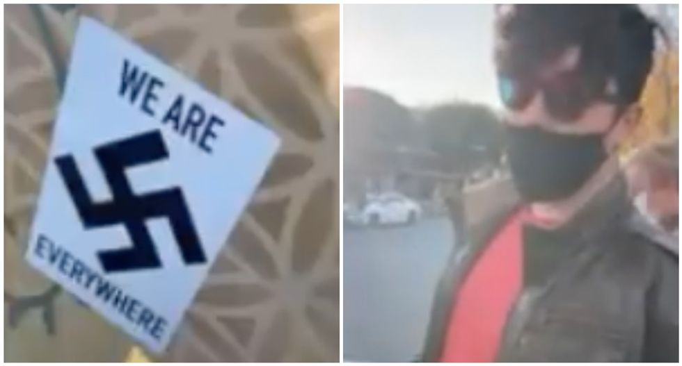 WATCH: Neo-Nazi begs man to stop filming after he gets caught putting up swastika stickers