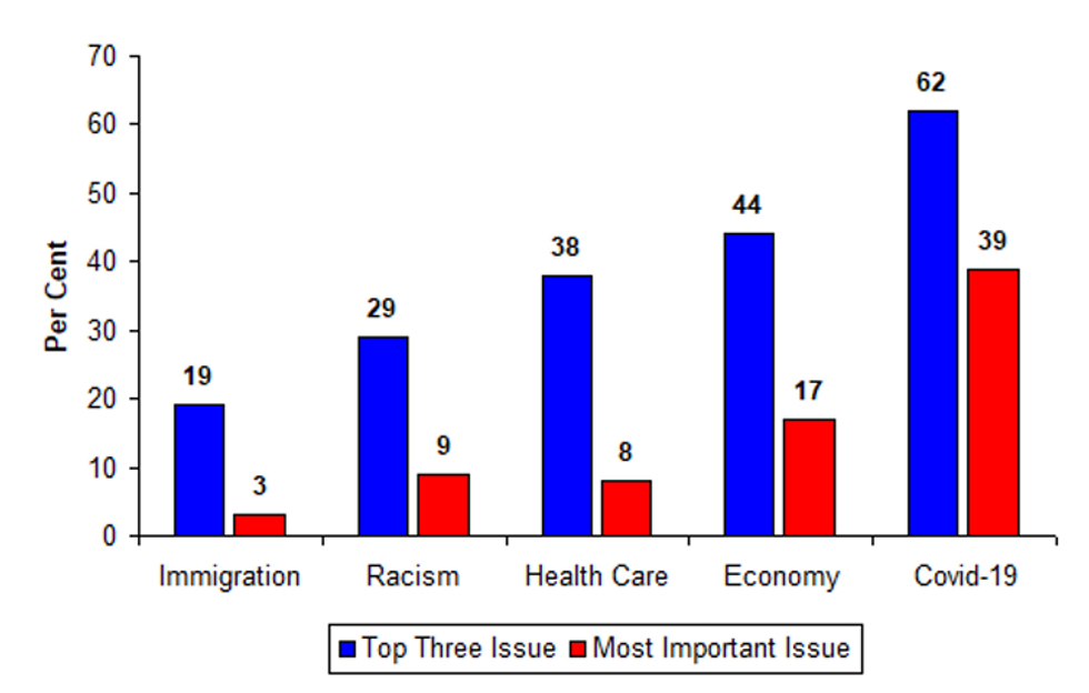 Graph showing key issues in US election 2020