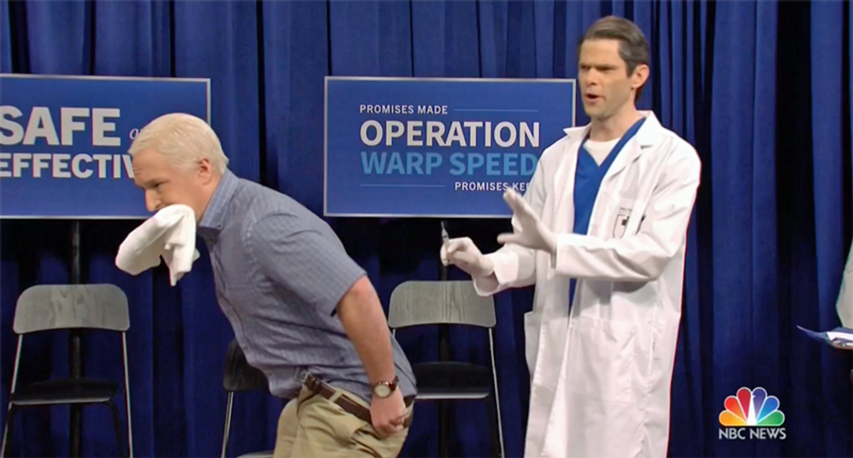 SNL's Mike Pence gets vaccinated -- and slapped by Kamala for questioning the election results