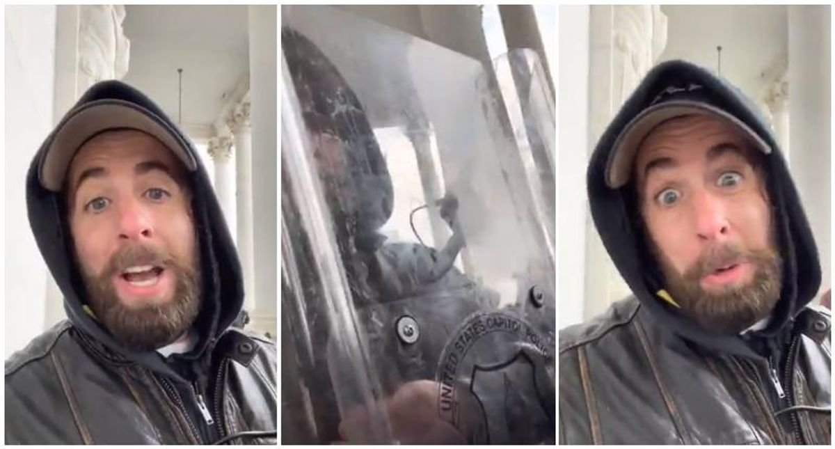 WATCH: Trump supporter brags about stealing Capitol cops' riot shield in selfie video posted on Parler