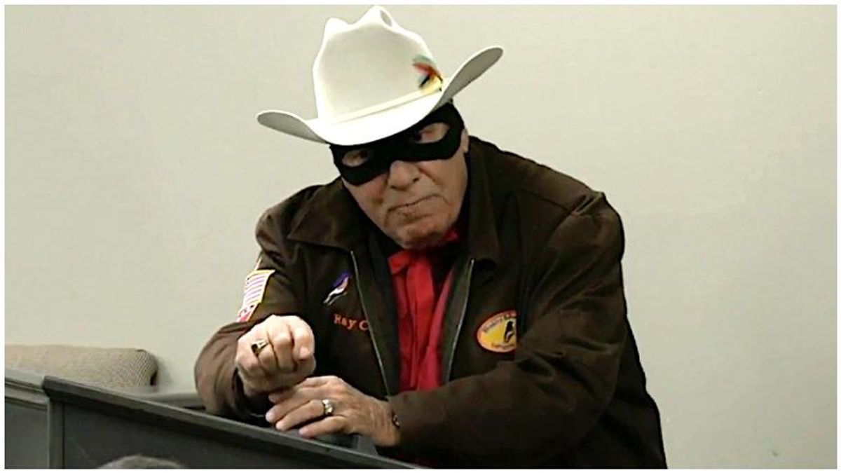 Man dressed as the Lone Ranger defends his right to the use N-word at Georgia county meeting
