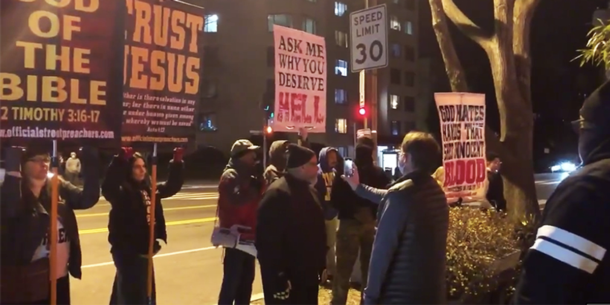 Religious protesters outside notorious Washington pizza parlor blasted with Lady Gaga music