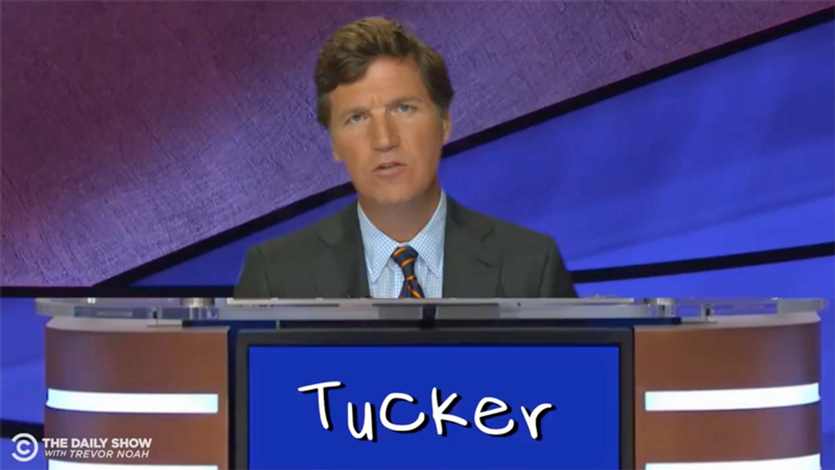 Watch: Parody hilariously mocks Tucker Carlson as a Jeopardy contestant