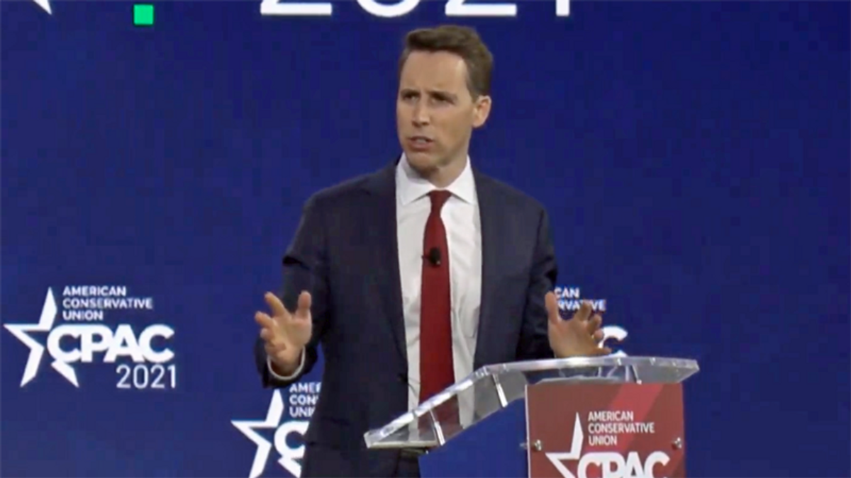 CPAC gives Josh Hawley a standing ovation for voting to overturn the election