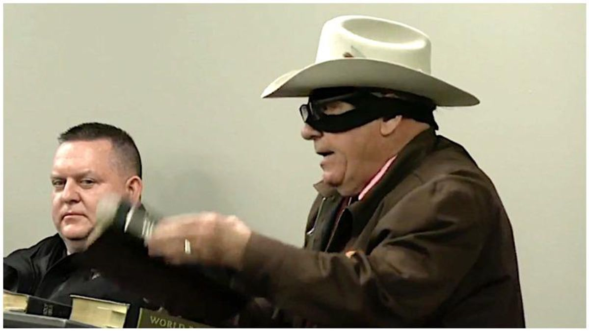 County meeting goes off the rails as man dressed as the Lone Ranger rants in defense of the N-word