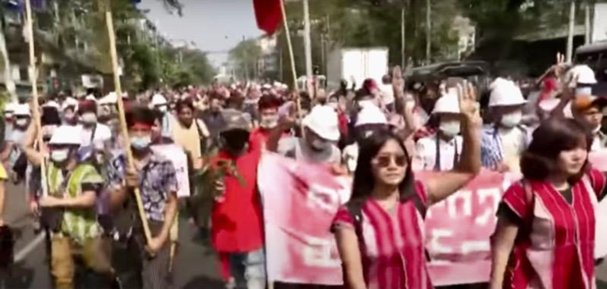 'We want democracy!': Despite internet blackout, tens of thousands protest military coup in Myanmar
