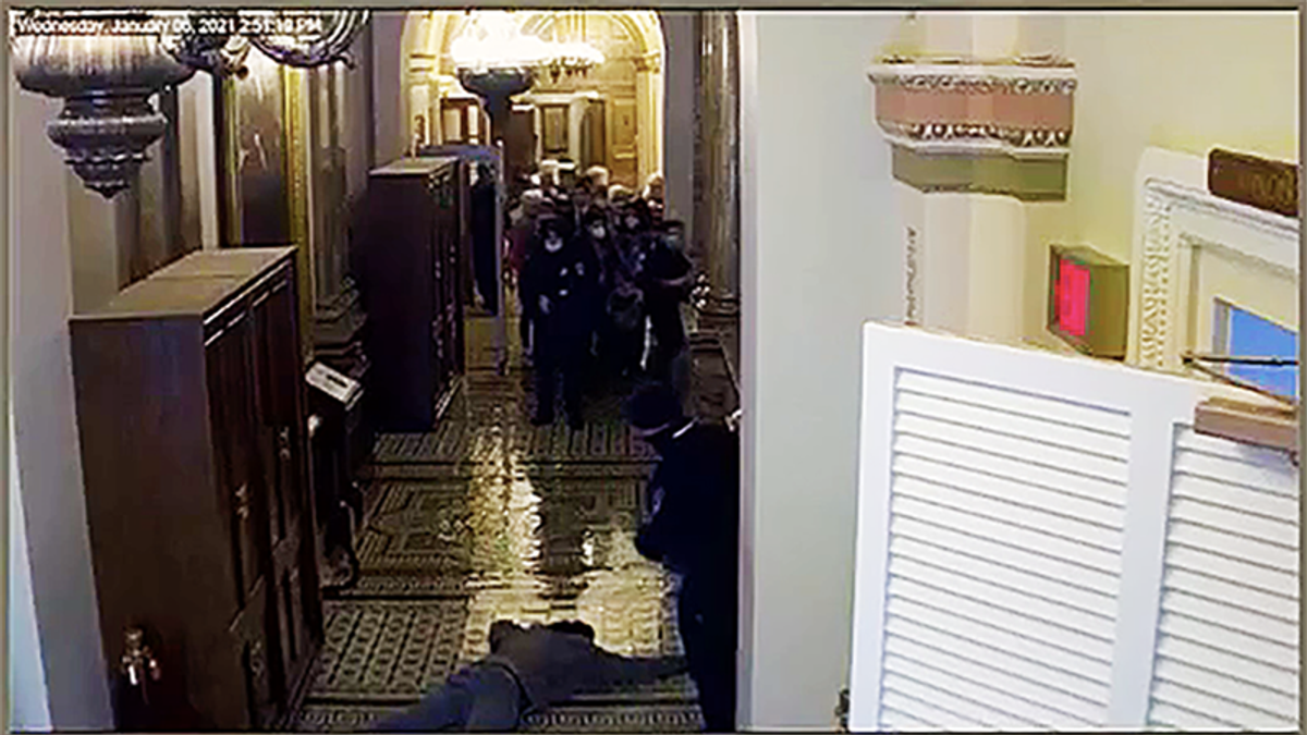 Impeachment video shows police holding off attacker at gunpoint while members rushed to safety