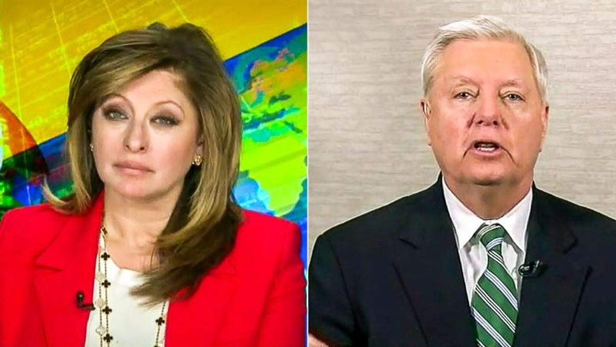 WATCH: Maria Bartiromo cuts to commercial after laughing at Lindsey Graham's claim of '1 million' migrants