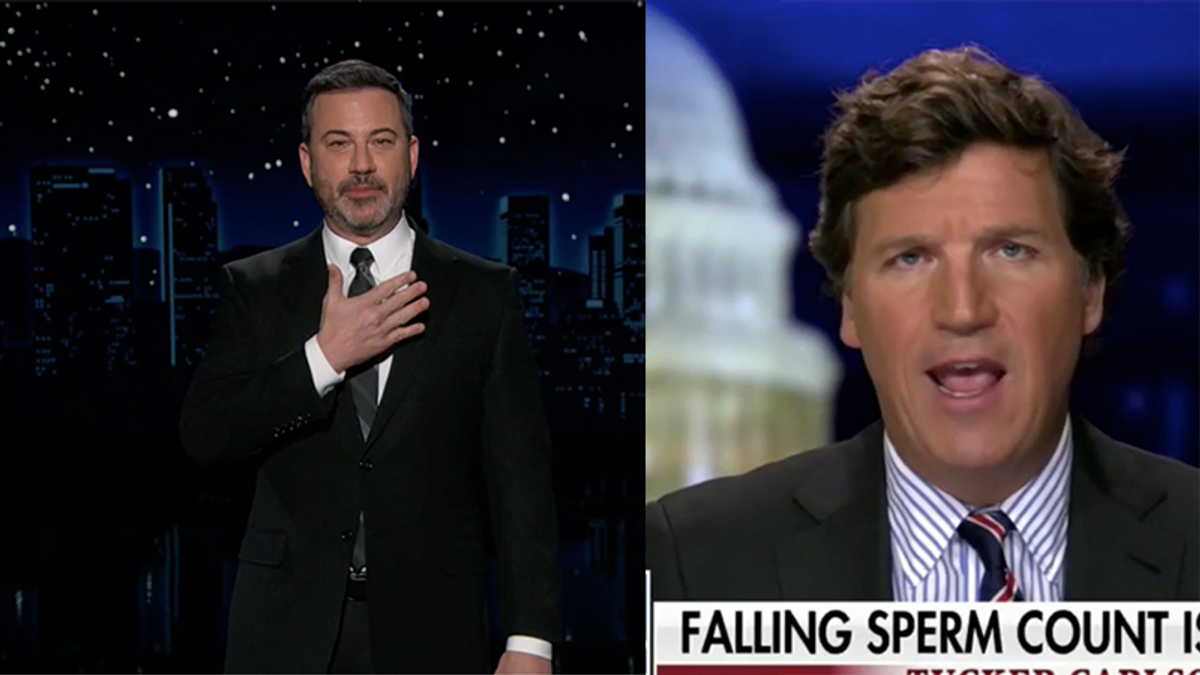 Jimmy Kimmel offers Tucker Carlson his sperm after Fox News host freaks out over low count in US men