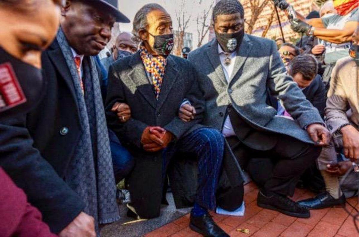 George Floyd's family take a knee in Minneapolis