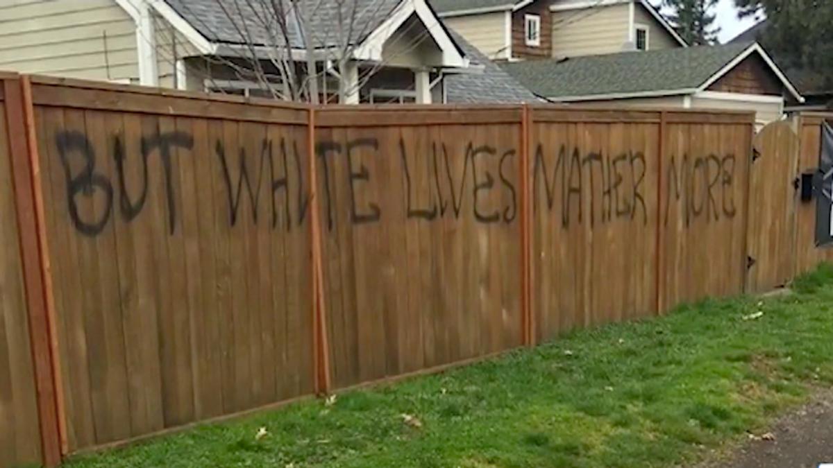 'White lives matter more!' Vandals wreck Oregon man's fence over 'Black Lives Matter' banner