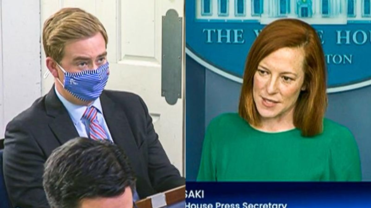 Jen Psaki scolds Peter Doocy for having 'fun with labels' after he asks if border is a 'disaster'