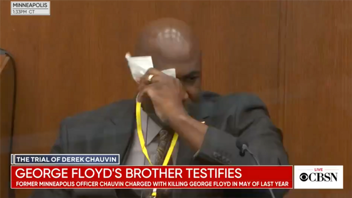 WATCH: George Floyd's brother cries on the stand while testifying about his loss