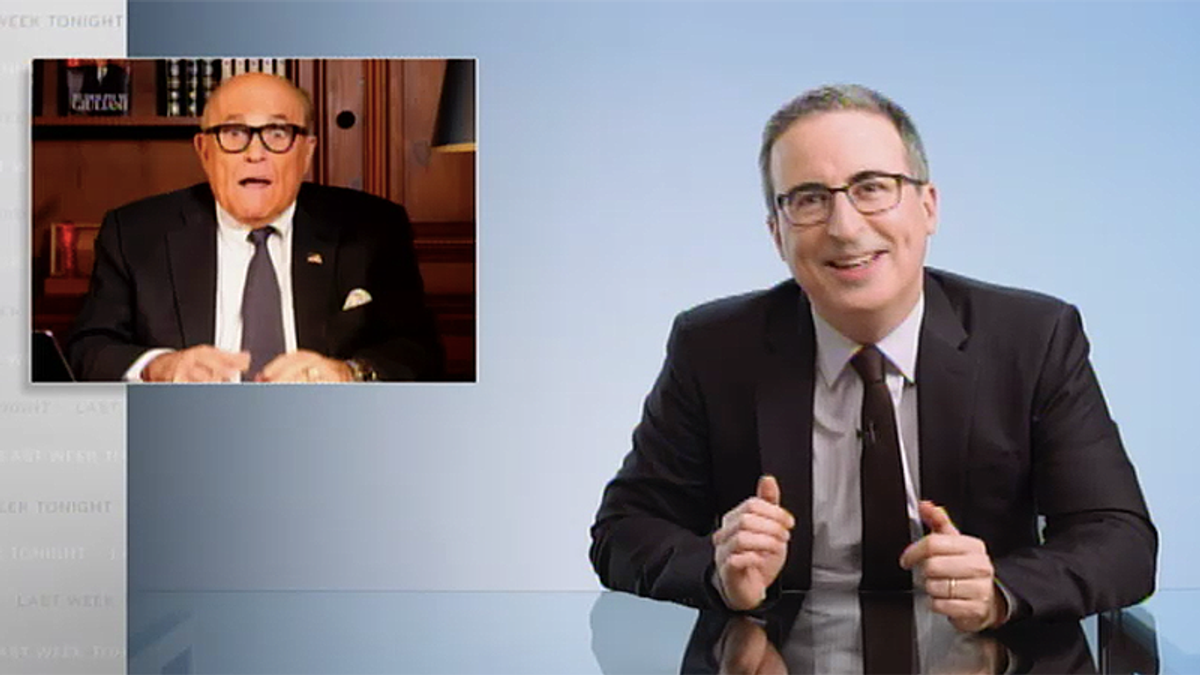 John Oliver was shocked Rudy Giuliani didn't accidentally live stream his FBI raid by sitting on his phone