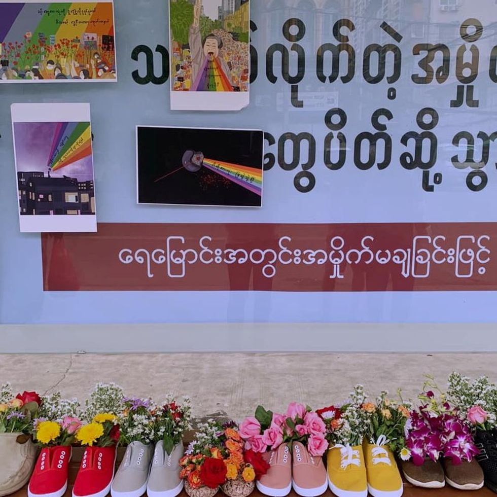 Myanmar activists hold shoe protests; another celebrity detained