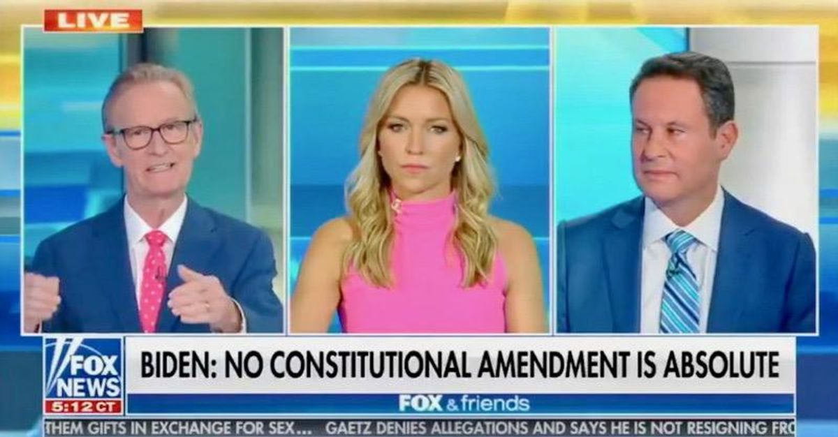 'Shocking': Fox & Friends freaks out over Biden declaring no amendment is 'absolute'