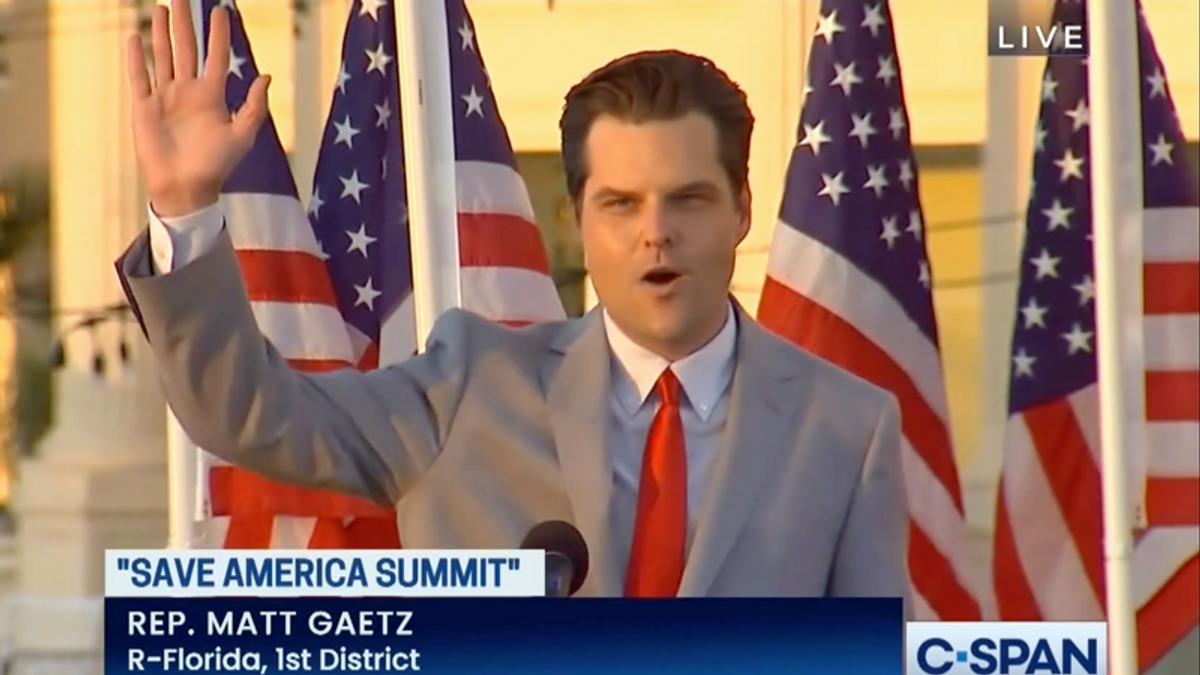 Matt Gaetz pushes 'Big Lie' to deflect for sex scandals during speech at Trump National Doral