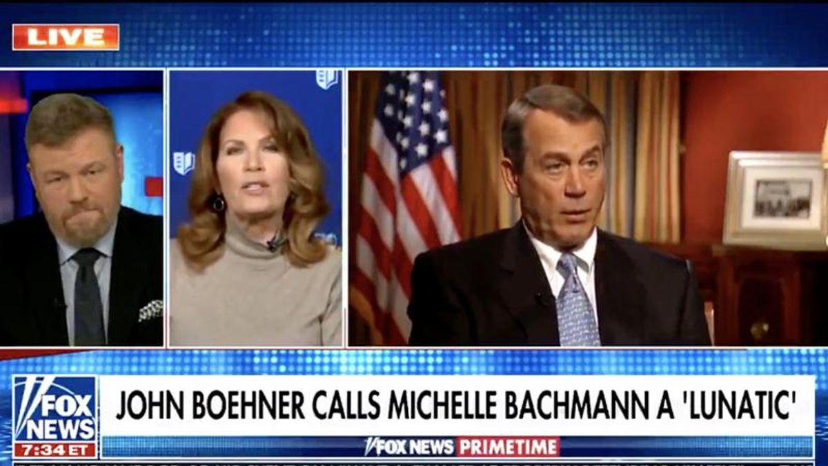 Michele Bachmann goes berserk on John Boehner for calling Fox News viewers 'lunatics'