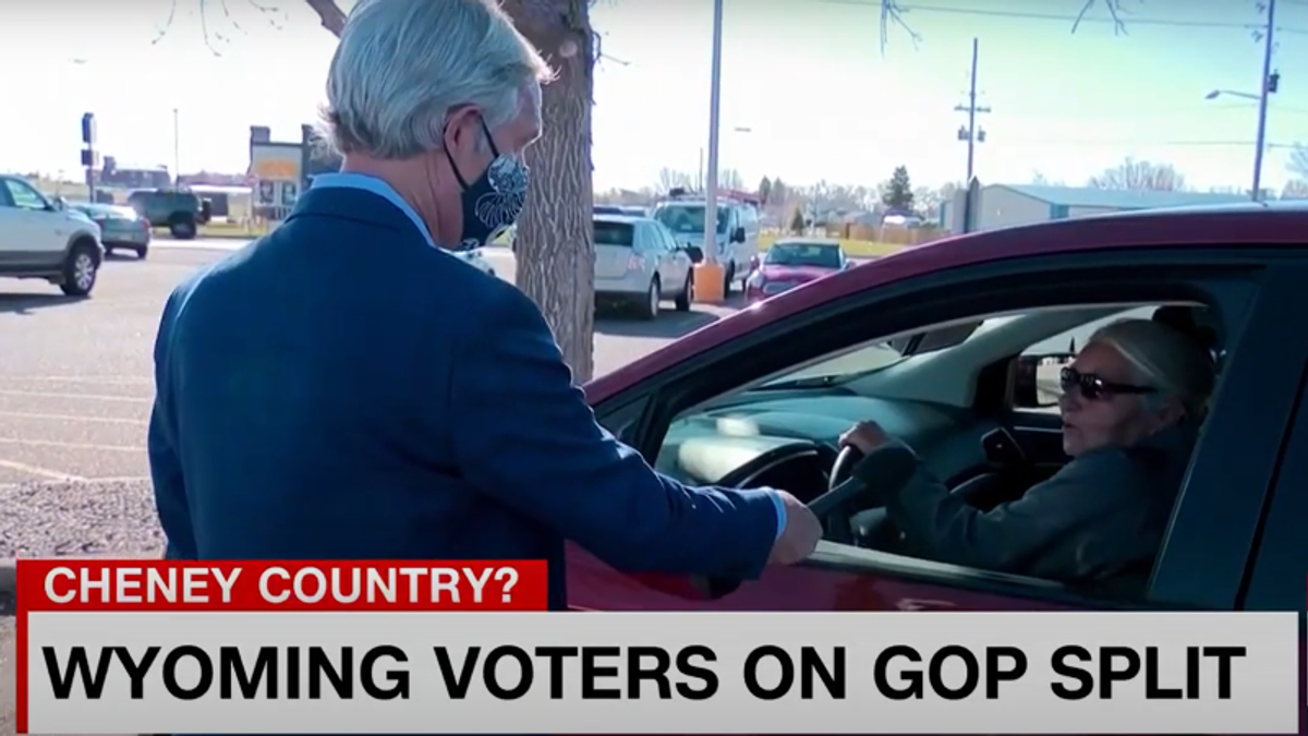 WATCH: Wyoming voter trashes Liz Cheney — and promotes the Big Lie despite admitting no evidence for it