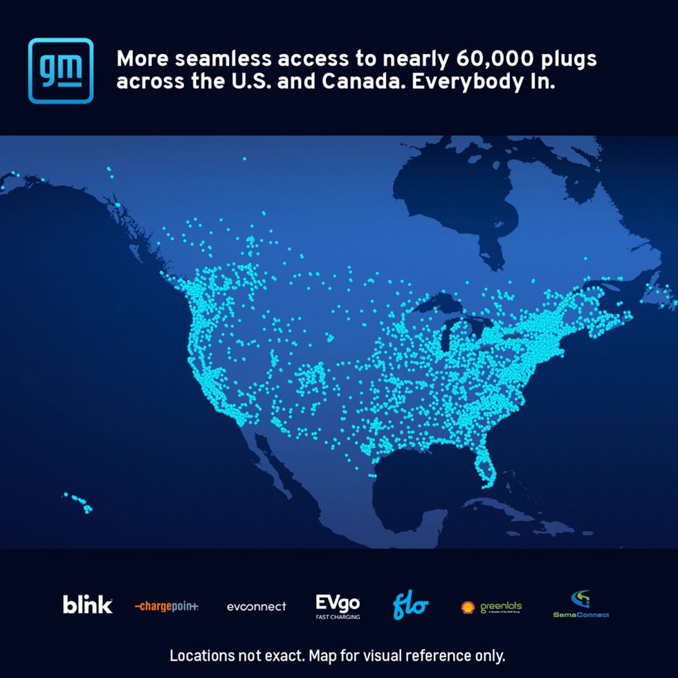 GM to offer electric vehicle drivers access to 60,000 plugs in US, Canada