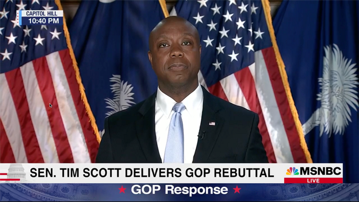 'SO PATHETIC': GOP's Tim Scott ignites backlash after denying systemic racism during his Biden rebuttal