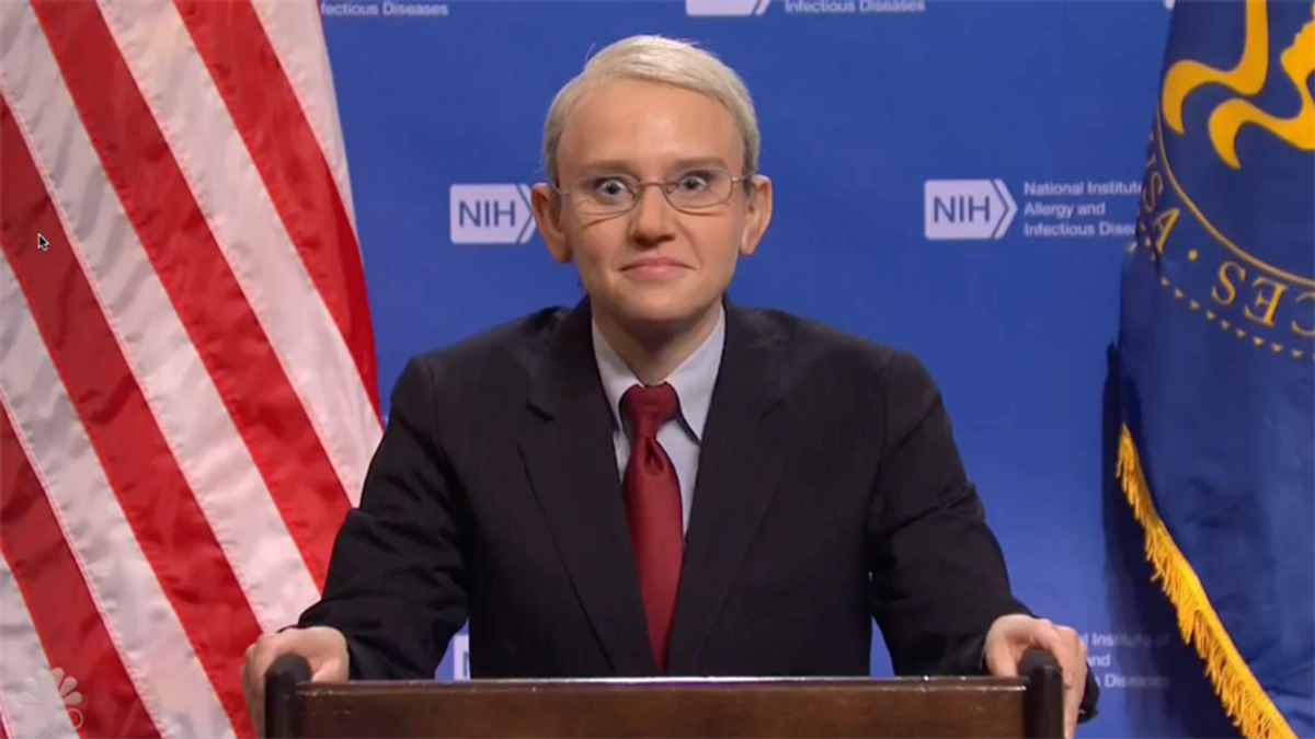 SNL's Tony Fauci panics as CDC skits on mask guidance get more salacious and absurd