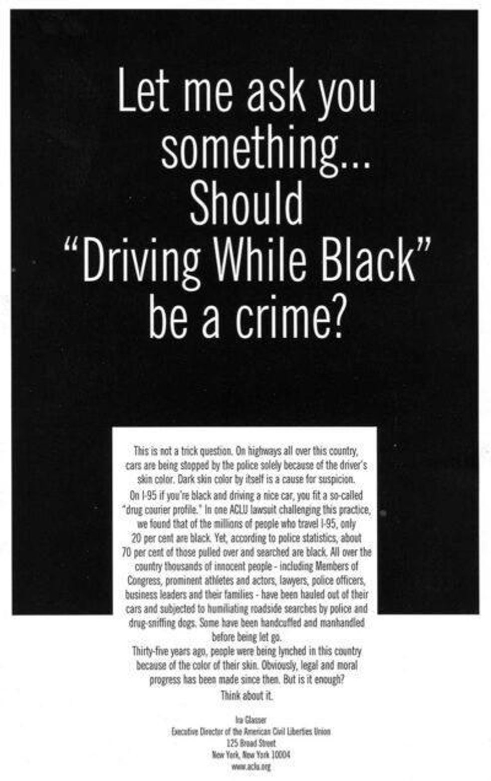 Image - Text graphic - Let me ask you something: should Driving While Black be a crime?
