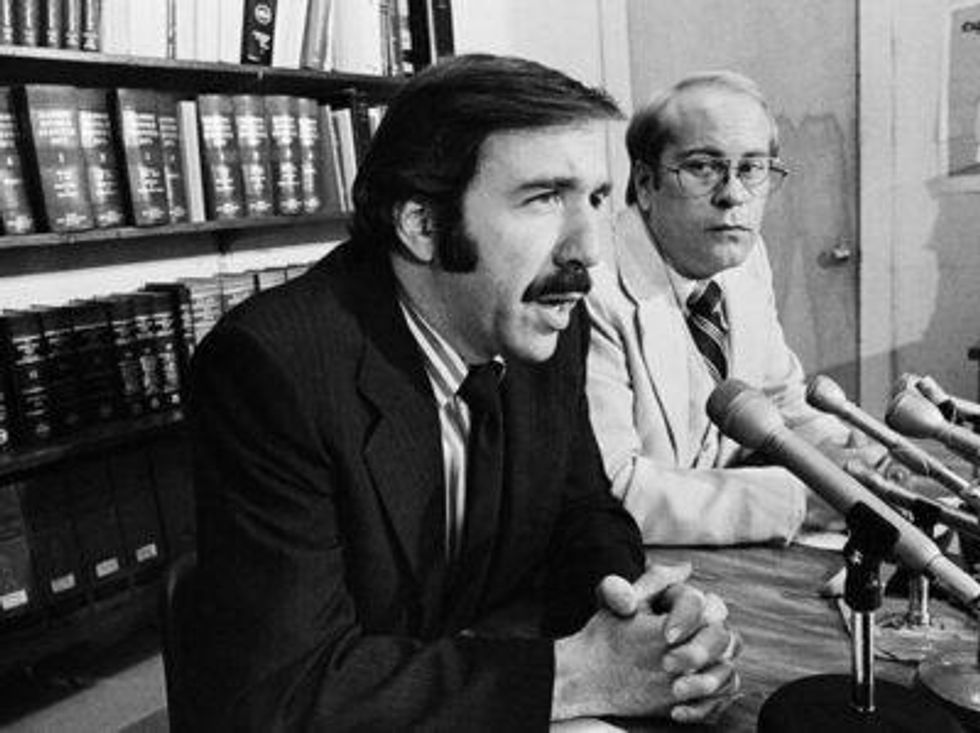 ACLU legal director David Goldberger, left, appears at a Chicago Press conference with ACLU Executive Director David M. Hamlin. Both men were happy with the court's decision to allow Frank Collin and his Nazi group to hold a rally in Chicago's Marquette Park.