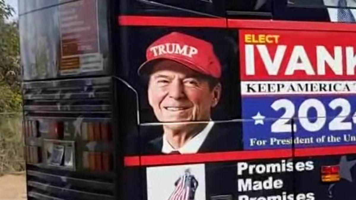Reagan Foundation demands 'Trump Train' bus remove image of GOP hero in MAGA hat