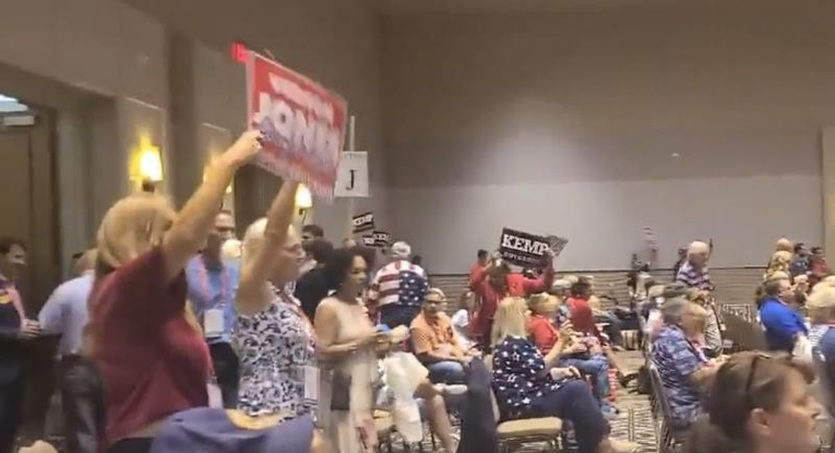 WATCH: GOP activists boo and drown out Georgia's Brian Kemp at state convention