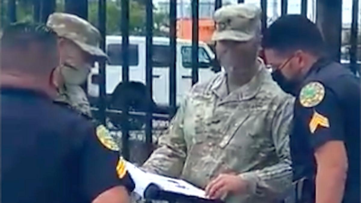 Military personnel block Democratic activist from Ron DeSantis public event