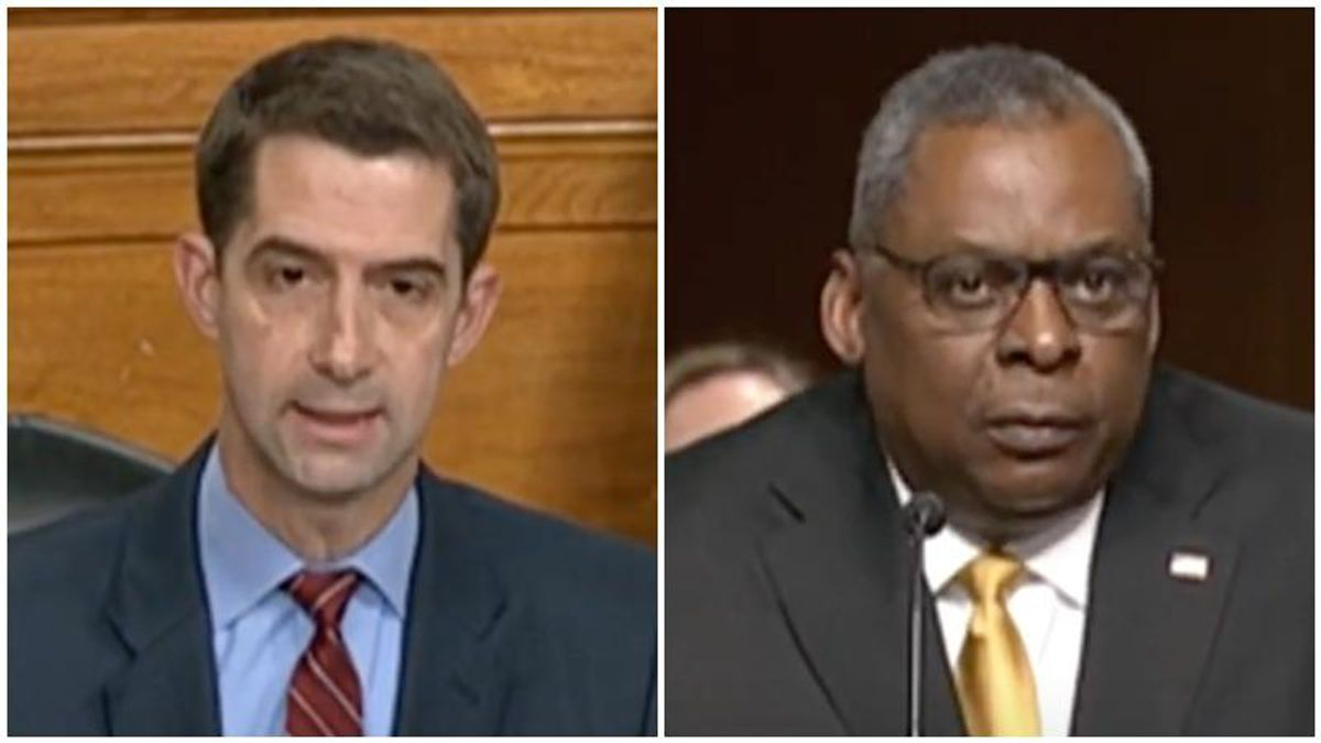 GOP's Tom Cotton repeatedly cuts off America's first Black defense secretary as he fumes over diversity training