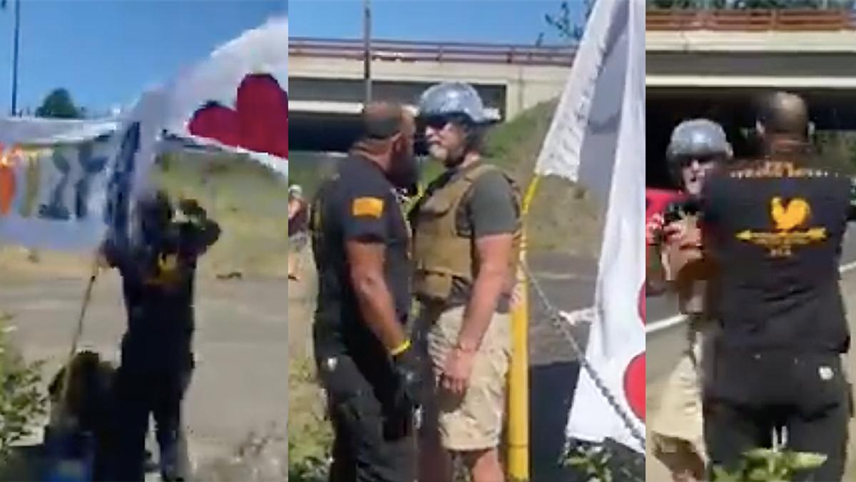 Watch as militia member attacks veteran peacefully protesting Proud Boys ahead of massive riot