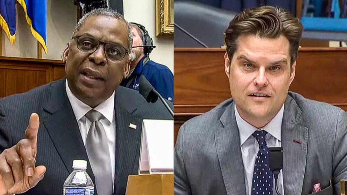 WATCH: Defense secretary stomps Matt Gaetz for 'spurious' accusation on critical race theory