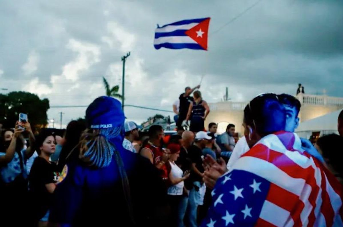 'Down with Communism!' shout Cubans rallying in the US