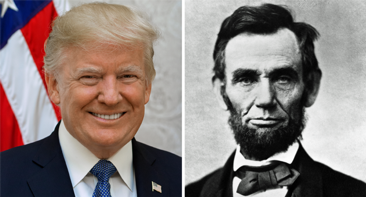 Trump tells reporters that he would have beaten an undead George Washington-Abraham Lincoln ticket