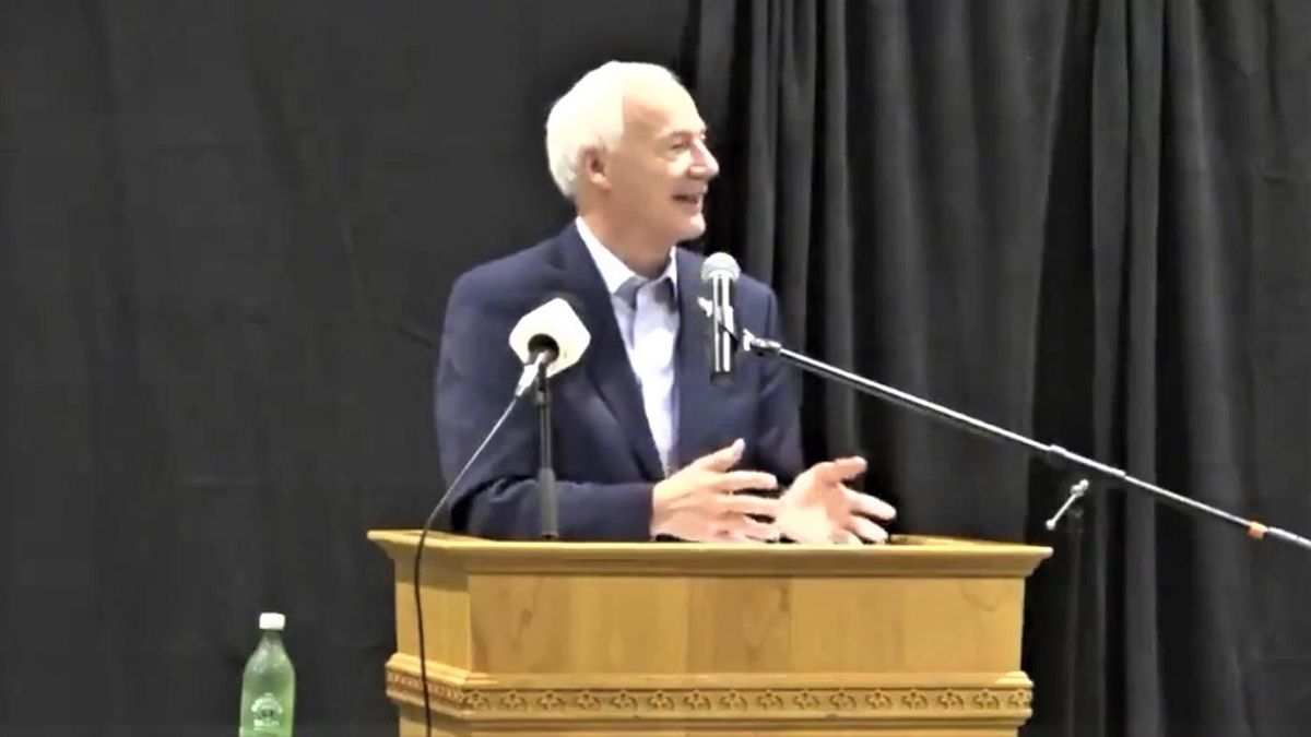 WATCH: Arkansas GOP governor drowned in boos for saying the COVID vaccine doesn't make women infertile