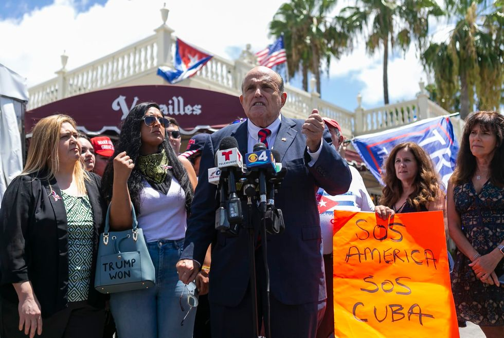 Rudy Giuliani came to Miami to hammer Cuba's regime. Just a few people showed up