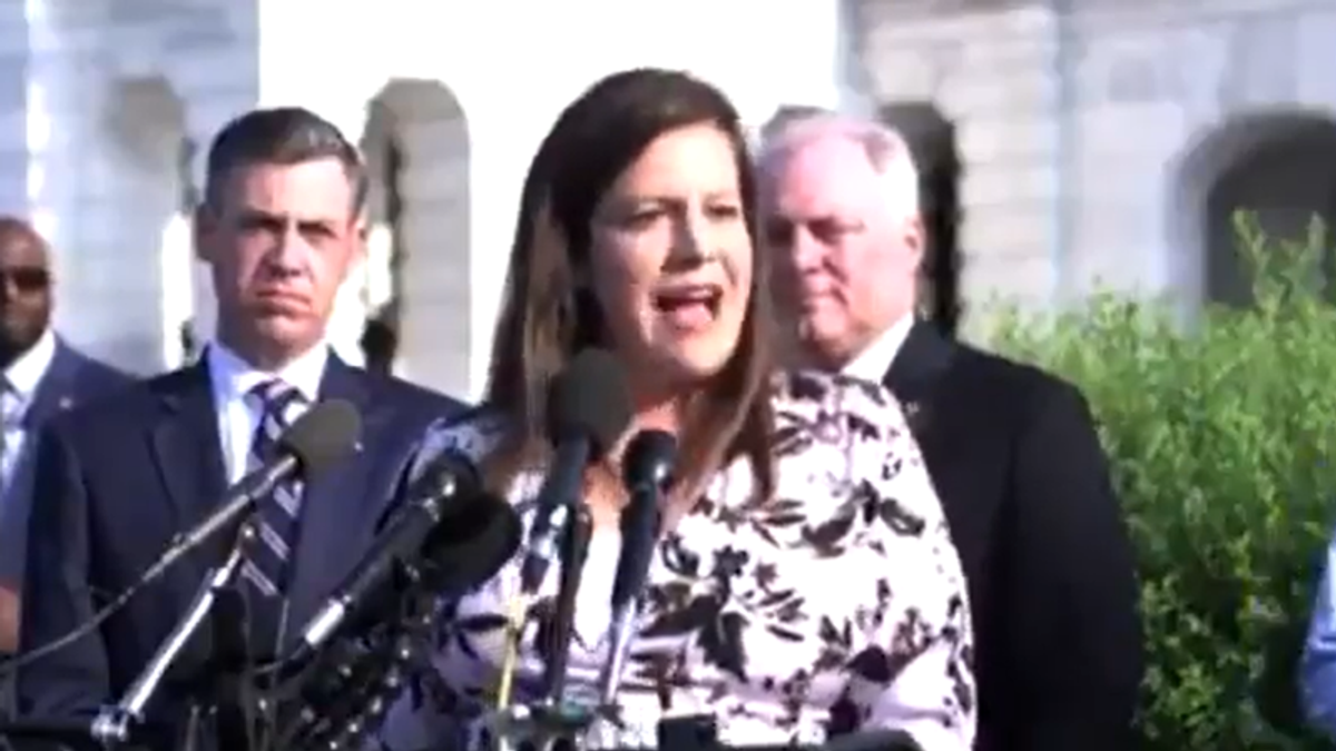 GOP's Elise Stefanik blames Pelosi for January 6 attack in speech outside the Capitol as MAGA riot hearing begins