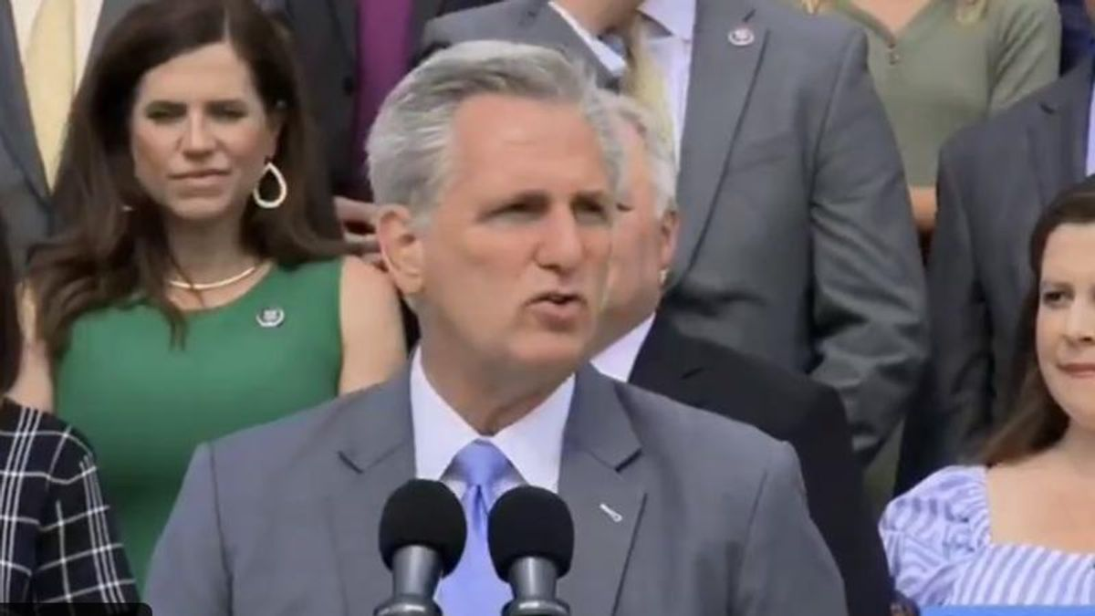 Kevin McCarthy blurts out QAnon reference during press conference: 'The storm is coming'